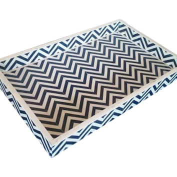 Bone Inlay Furniture - Blue Striped Chevron Modern Decorative Tray | Free Shipping