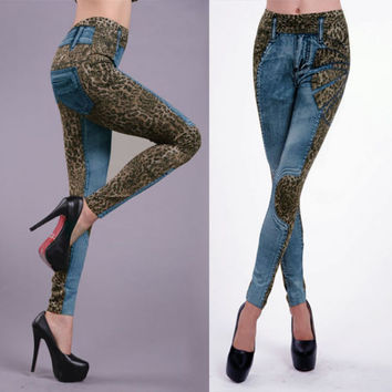 Leopard Slim Fit Pencil Jeans