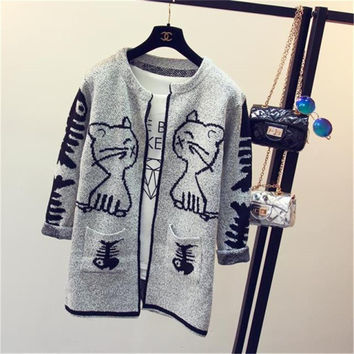 Knitting Cardigan Sweaters Women 2016 Winter New Letter V-neck Loose Casual Pockets Long-sleeve Wool Knitted  Female Open Stitch