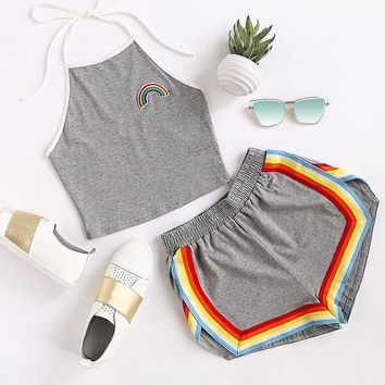 2 Piece Set Shorts Women Crop Tops Women Summer Ladies Rainbow Patch Halter Top And Colorful Trimming Shorts Set