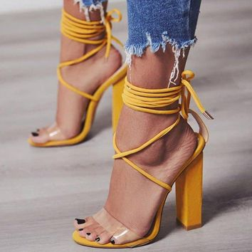 Sexy Square High Heel Lace-up Casual Pumps