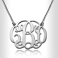 "Personalized Silver 1.0"" Gold Monogram Necklace Custom Made Initials Monogrammed Necklace  Monogram Name Jewelry,nameplate,name plate"