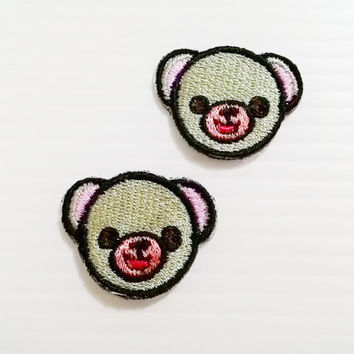 Set 2pcs. Little Bear Cute Patches New Iron On Patch Embroidered Applique Size 3.1cm.x2.4cm.