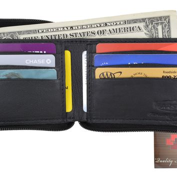Swiss Marshal Zip Around Premium Genuine Leather Credit Card Holder Bifold Wallet with Outside Zippered Pocket  SM-P1674