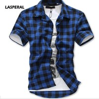 LASPERAL 2018 New Men Plaid Print  T-Shirt Short Sleeve Turn-down Collar Tee Shirt Casual Slim Fit Tee Tops Summer Men Clothing