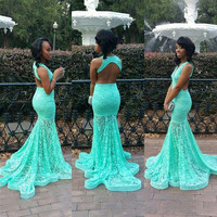 Turquoise V-Neck Backless Floral Lace Mermaid Dress