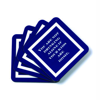 Toss Quote Coaster Set-Drinking Alone