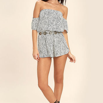 Get-Together Black and White Striped Off-the-Shoulder Romper