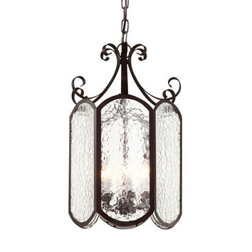 Trans Globe Lighting 40190 ROB Rubbed Oil Bronze New Century Iced Glass 10-Inch Foyer Pendant with Clear Water Glass