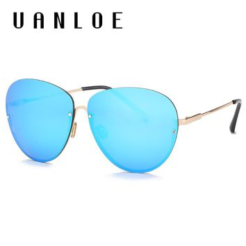 UANLOE 2017 New Arrived Fashion Pilot Sunglasses No Border Metal Frame Classic Style HD Lenses Send Friends The Best Gift