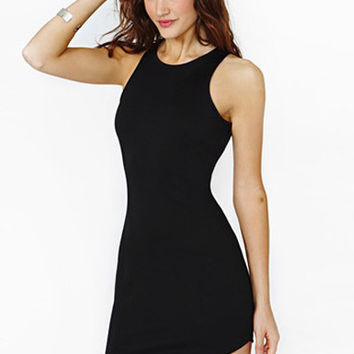 Black Asymmetrical Hem Bodycon Dress