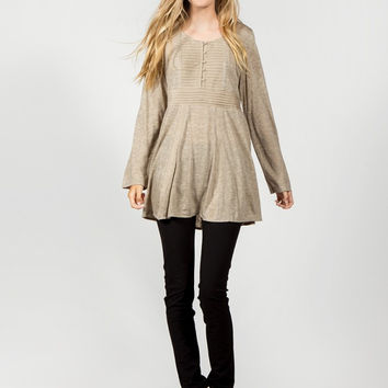 Apparel- Chelsey Faux Suede Contrast Pintucked Peasent Knit Dress