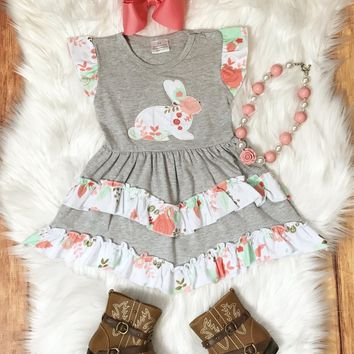 RTS Coral Floral Bunny Easter Dress D8
