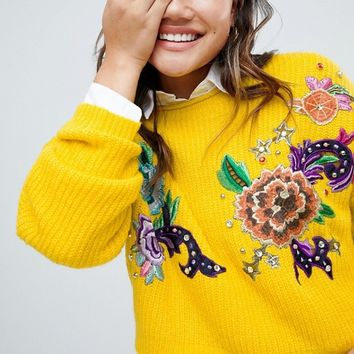 ASOS DESIGN Sweater With Floral Embroidery And Embellishment at asos.com