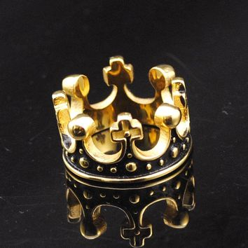 Dolaime 2016 Hot  Gold Color Stainless Steel Ring Crown King Mens Rings Wedding Jewelry Domineering Cool Party Gift, GR430