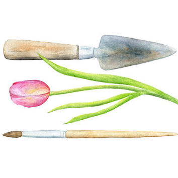 Trowel Paintbrush Watercolor Painting - Garden, Tool, Gardener, Artist, Pink Tulip, Creativity, Green, Nature, Art Print, Metal, Wood