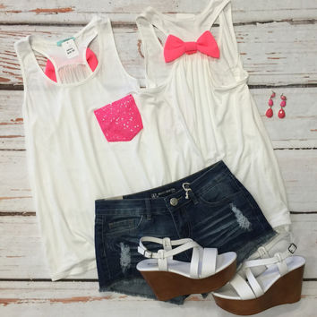 Sequin Bow Back Tank: Hot Pink