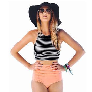 High Waist Two Piece Striped Vest Bikini Swimsuit Summer