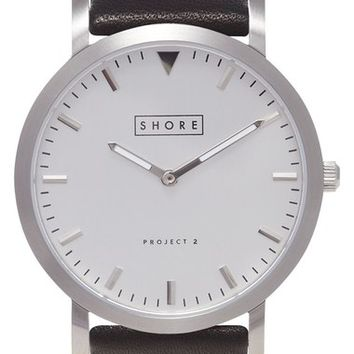 Shore Projects 'Project 2' Leather Strap Watch, 39mm | Nordstrom