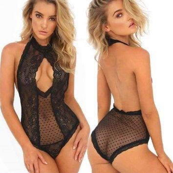 Women Sissy Lingerie Lace Babydoll G-String One Piece Underwear Nightwear Black Nightgowns