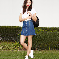 Blue Denim A-Line Button Mini Skirt