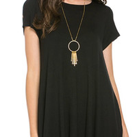 Short Sleeve Trapeze Dress  - Black
