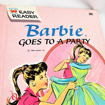Easy Reader Barbie Book, Barbie Goes To A Party, Children's, Vintage Book