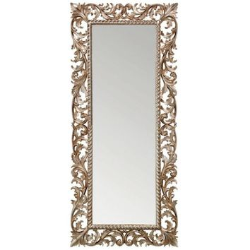 GM Luxury Slovenia Rectangular Full Length Wall Art Hand Carved Mirror Antique Silver Leaf 31.5x71