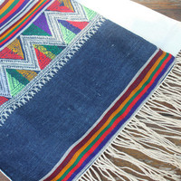 Ethnic Womens Scarf In Laos Indigo Woven Cotton On Ivory With Fringe Gift