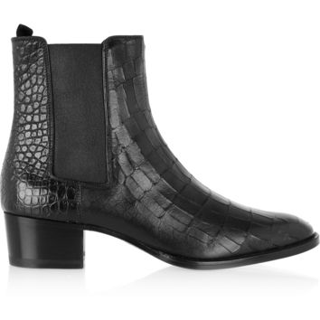 Saint Laurent - Wyatt croc-effect leather ankle boots