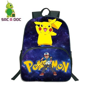 Women Men  Pikachu Charizard Galaxy Star Universe Space Backpack School Bags for Teenage Girls Boys Travel BackpackKawaii Pokemon go  AT_89_9