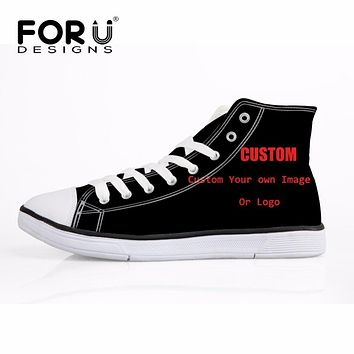 FORUDESIGN Custom Printed High Canvas Flat Shoes For Women Men Funny Custom Made Your Picture Or Logo High Quality Breath Shoes
