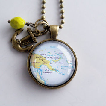 Map of Papua New Guinea Pendant Necklace -  Travel Necklace - Adoption Jewelry - You Choose Bead and Charm - Oceania - South Pacific Ocean