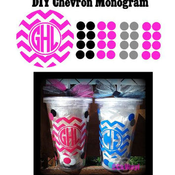 DIY Chevron Monogram with Polka Dots Decals