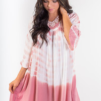 Tie Dye Boho Summer Dress - Pink