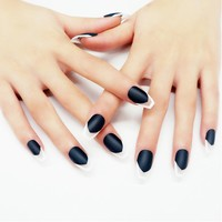 24Pcs Artificial Fake Nails Matte Coffin Oval Transparent Long Full Cover False Nails With Design Press on Nail Acrylic Tips