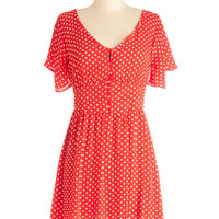 ModCloth Vintage Inspired Mid-length Short Sleeves A-line Swing Dance-a-Thon Dress