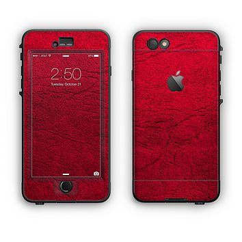 The Rich Red Leather Apple iPhone 6 Plus LifeProof Nuud Case Skin Set