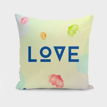 """LOVE"" Hieroglyphic Text Cushion Cover"