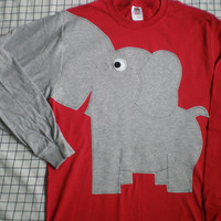 Elephant shirt elephant trunk sleeve elephant t shirt RED UNISEX large