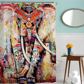 Watercolor Elephant Boho Shower Curtain