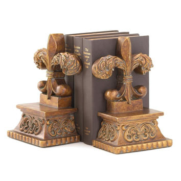 Decorative Bookends, Rustic Office Heavy Books Bookends Children (fleur-de-lis)