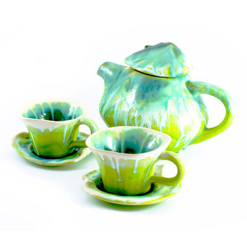 Pottery teapot cups coffe tea ceramic stoneware set cups - unique handmade created with love to enamel colours - two cups and teapot 1L