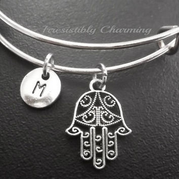 Hamsa bracelet, Stainless Steel Expandable Bangle, monogram personalized item No.700