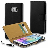 Connect Zone® Quilted PU Leather Flip Wallet Case Cover Pouch for Samsung Galaxy S7 Edge (G935) - with Screen Protector, Polishing Cloth and Mini Stylus - Black Genuine Leather + Mini Stylus