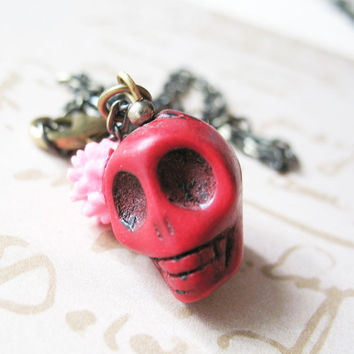 Day Of The Dead Necklace - Dia De Los Muertos Red Skull Necklace With Pink Flower - Carmen