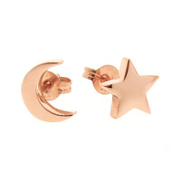 Rose Gold 'Baby Moon and Star' Stud Earrings, crescent moon and star studs
