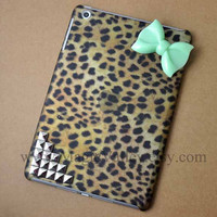 Leopard iPad mini Case, iPad mini Cover, Mint Green Bow iPad case with sliver studs,mini ipad case,case for mini ipad
