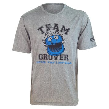 "Brainstorm Gear Sesame Street TEAM GROVER ""Faster Than Lightning!"" Tech Shirt"