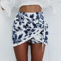 White Printed Fringed Wrap Skirt